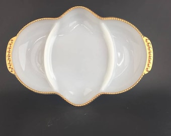 Milk Glass Three Section Relish Dish With Gold Beaded Rim By Fire King
