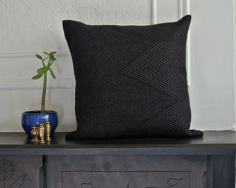 """Modern Geometric Quilted Wool/Cashmere Pillow Cover 18"""" x 18"""""""