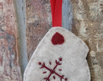 Felt Mitten Ornament in Beige; Felt Christmas Mitten Ornament with Snowflake