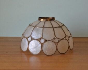 Vintage Capiz shell light shade Medium light lamp shells mid century