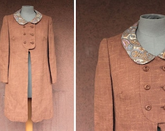 1960's Brown Wool English Coat - 1960's English Coat Pelsay Collar - Size S