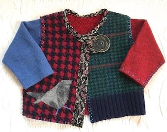 toddler folk cardigan . toddler cardigan .  made from repurposed sweaters  . wool sweater .  toddler folk sweater . USHA