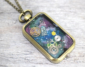 TARDIS Doctor Who Doctor Pocket Watch Necklace | Doctor Who Jewelry | Whovian Jewelry | TARDIS Jewelry | Time Lord Jewelry | Cosplay