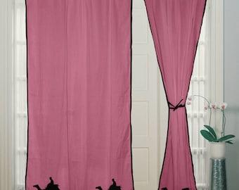 Camel curtain, Hand Block Printed, Cotton Curtain, Door Window, Treatment, Pink curtain