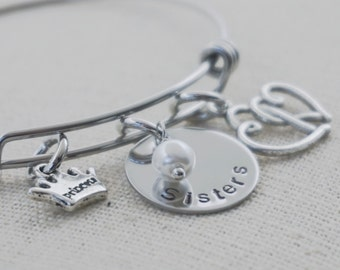 Sisters Jewelry - Hand Stamped - Adjustable - Bracelet - Choice of Charms - Pearls - Crystals