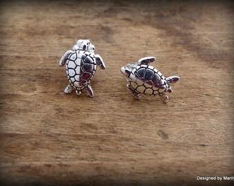 Sterling silver sea turtle earrings, post earrings, ocean theme jewelry,  turtle jewelry