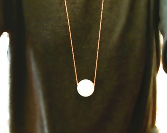Long Modern Necklace with Big Ball Natural White Stone & Sterling Silver Rose Gold Plated Chain