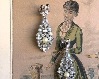 Vintage Signed MARVELLA Pearl & Rhinestone Tear Drop Earrings