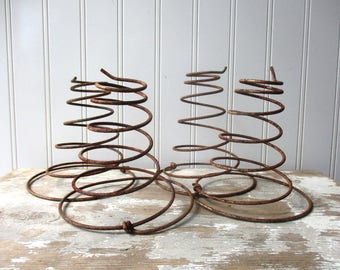 4 vintage bed springs large rusty chair springs bedsprings for upcycling or display Farmhouse Industrial Chic