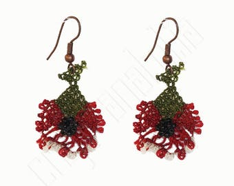 Oya Needle Lace Earrings Dark Red Flowers