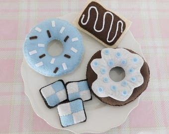Alice in Wonderland Blue and White Tea Party Set, Felt Donuts, Pop Tart and Cookies