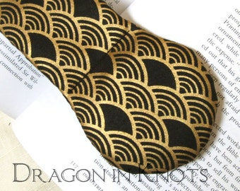 Weighted Page Holder - Black and Gold Book Lover Gift - Metallic Japanese Fan Design Fabric and Steel Book Weight - masculine, art deco