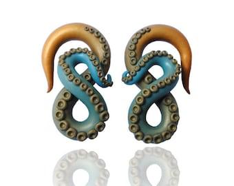 """Kraken Octopus Tentacle Gauges - Earrings For Stretched Lobes - Fake, 2g, 0g, 00g, 7/16"""", 1/2"""", 9/16"""", 5/8"""" - Octopus Gauges - Gauge"""