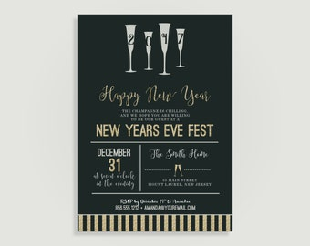 New Years Eve Invitation - Gold & Silver Confetti -  Personalized Printable File or Print Package Available 00216-PIA7
