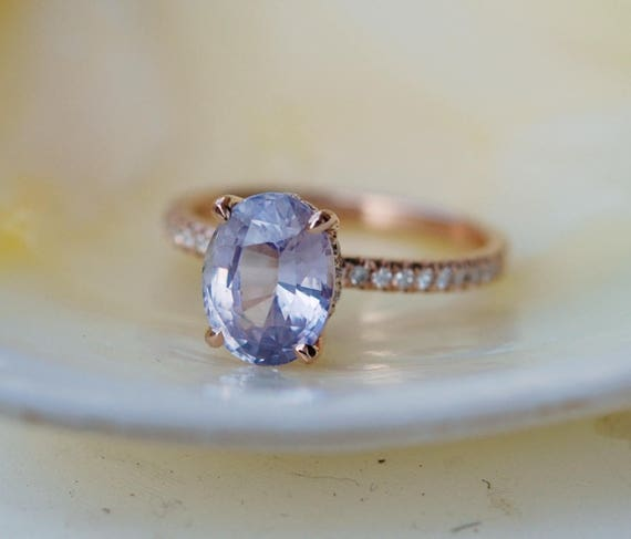 Blake Lively ring Lavender Blue Sapphire Engagement Ring oval cut 14k rose gold diamond ring 2.74ct Blue sapphire ring