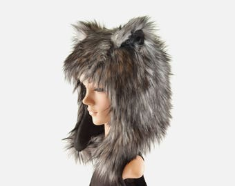 Dark Husky Wolf Hat Faux Fur Animal Hat