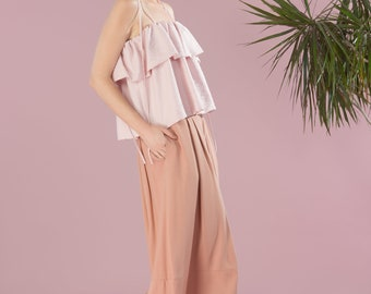 NEW Wide Leg Cropped Pants. Party Palazzo. Loose Fitting Pants. Casual Pants. Lison Pants PE18