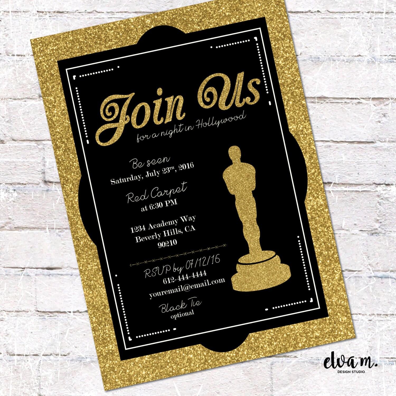 Hollywood / Oscar Party Invitation. Academy Awards Invite.