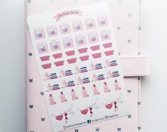 Laundry Stickers | housework, cleaning, chores, washing, clothes, Kikki k, Filofax, Erin Condren, bujo, journal