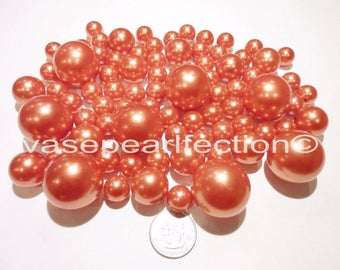 All Orange/Deep Coral Pearls - Jumbo/Assorted Sizes Vase Fillers for Centerpieces