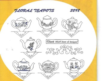 New Aunt Martha's Hot Iron Transfers Floral Teapots 3898