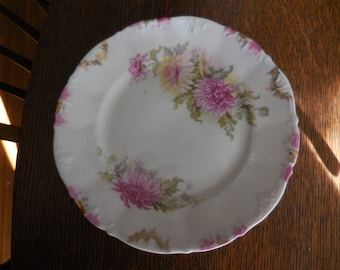 Vintage 1930s to 1940s White Small Plate With Pink Flowers Gold Accents Chrysanthemum Bread/Dessert Dish Display Shabby Chic