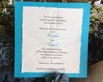 Starfish Wedding Invitation with letterpress starfish for Beach Wedding