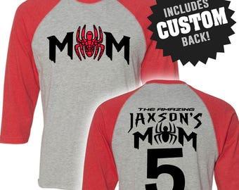 Spiderman Inspired SPIDERMOM Birthday Shirt Raglan with Custom Name Spider-Man Shirt Spiderman Birthday Spider-Man Birthday Shirt