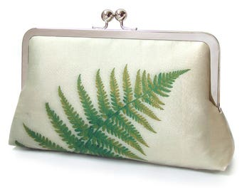 Green fern clutch bag, silk purse, bracken frond, woodland wedding, bridesmaid gift