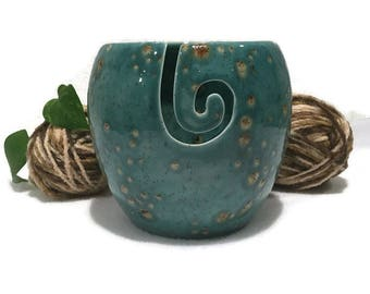 Large Yarn Bowl / Knitting Bowl in Jewel Tones of Teal Blue and Brown
