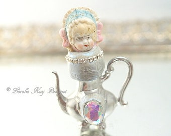 Tiny Teapot Art Doll  Original Art Doll Assemblage Miniature Teapot Mixed Media Doll Sculpture Lorelie Kay Original