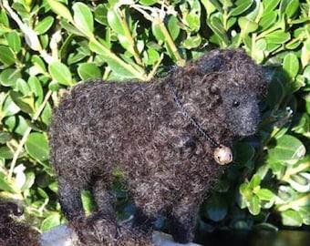 Miniature Needle Felting Kit / DIY Craft/ Gourmet Felted Kit/ Felt a Poseable Black Sheep /Felting Needles / Felting wool curls / Bonus bell