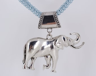 Large Elephant Scarf Pendant in Silver Finish ~ Scarf Slide ~ Scarf Charm