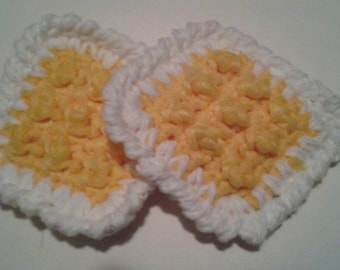 Squarr Nylon Tulle Netting Dish Scrubbies-Double Sided Cotton Sets of 2-8-Yellow-Handmade Pot Scrubbers