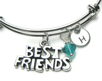 Best Friend Personalized Birthstone Bangle, Adjustable Bracelet, Friend Bracelet, Friend Bangle, Personalized Bracelet,Best Friend Bracelet