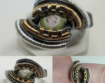 Wire Wrapped Ring - Watermelon Tourmaline