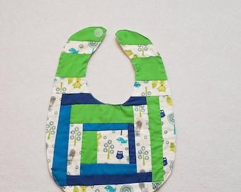Owl Bib - Quilted Baby Bib - Baby Bib Handmade - Baby Shower Gift - Gender Neutral Baby Bib - Custom Baby Gift Idea - Cuddles and Keepsakes