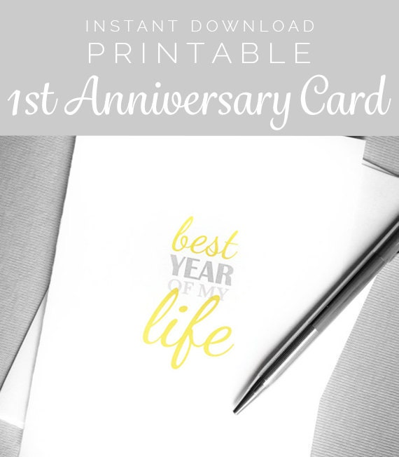 Printable First Anniversary Card. Instant Download One-Year