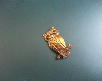 Vintage Copper Perched Owl Brooch Pin