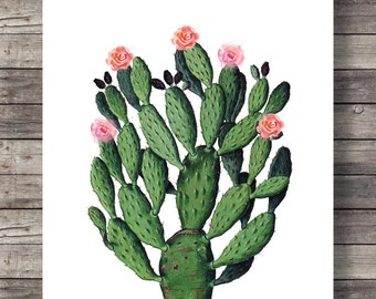 Cactus Vintage botanical illustration - Printable art | Cactus cacti Printable wall art  - Instant download digital print cactus