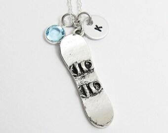 Snowboard Necklace - winter snowboarding sport, Personalized Initial Name, Customized Swarovski crystal birthstone