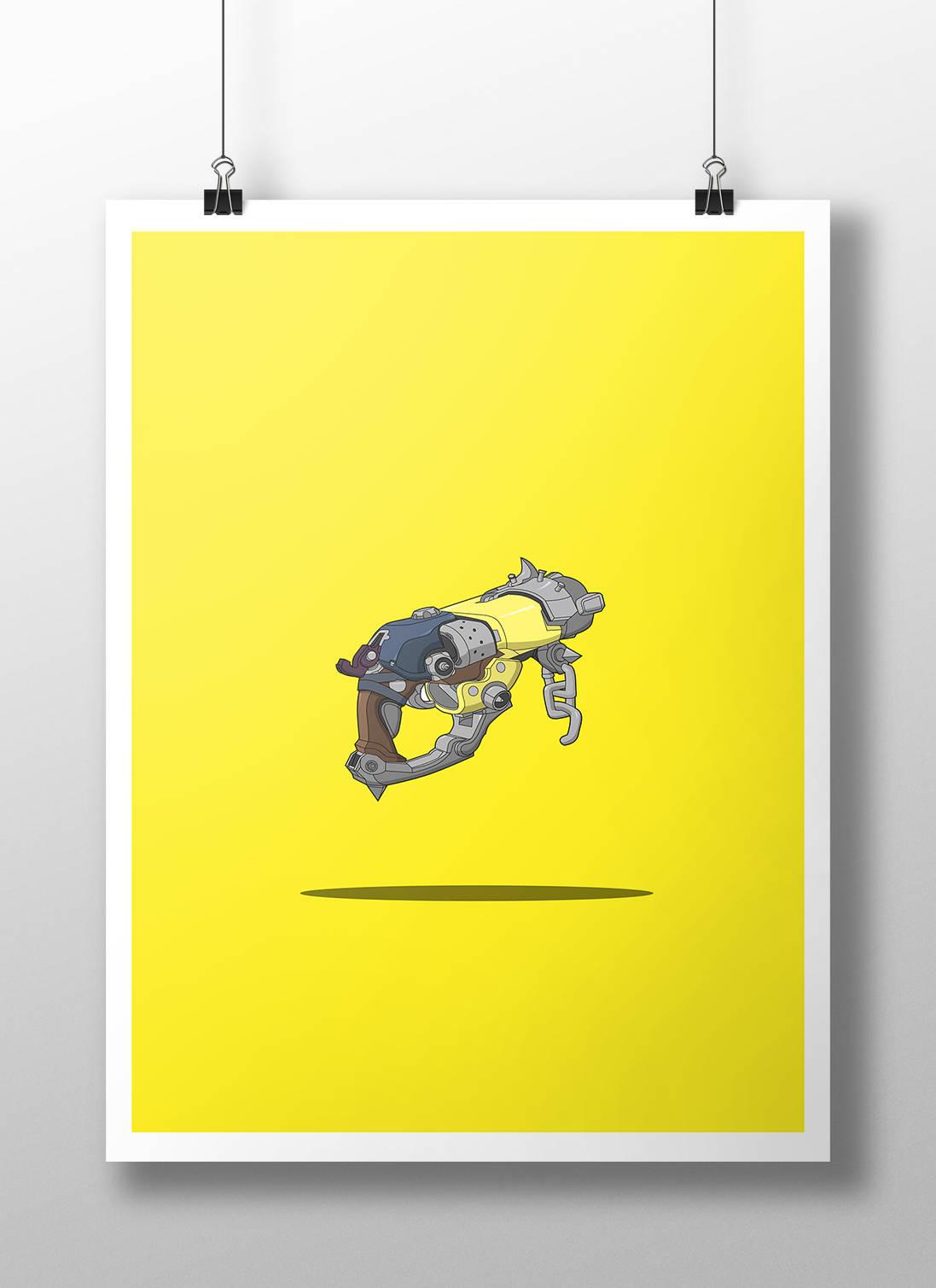 Overwatch Roadhog Scrap Gun Print ALL SKINS Gaming Poster