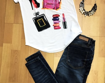 Hells,Purses and Perfume,Lipstick Paris woman t-shirt Statement Tee,Graphic Tee, Statement T-shirt,Graphic Tshirt