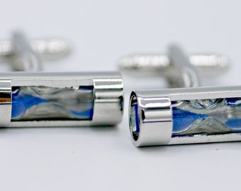 Mr. Sandman Blue/Purple Sand Timer Hour Glass Cufflinks Cufflinks