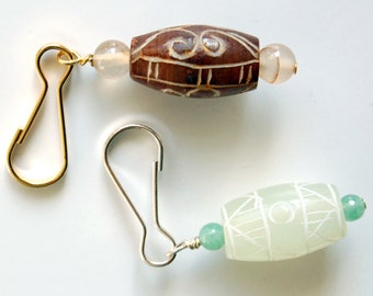 Your color choice: Carved Jade Zipper Pull, Jade Purse Charm, Backpack Charm, Green Jade, Brown Jade, Gift Under 10