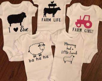 Set of 5 Farm Themed Baby Onesies!