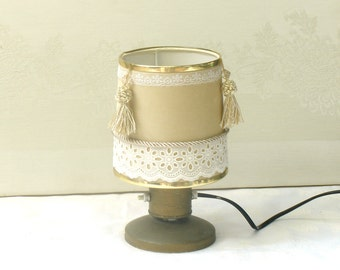 Table Lamp, Drum Vintage Lamp Shade, Velvet Fabric Lampshade Cream and White, Desk Lamp, Bedside Lamp, Lace French lamps, Shabby Chic Lamp.