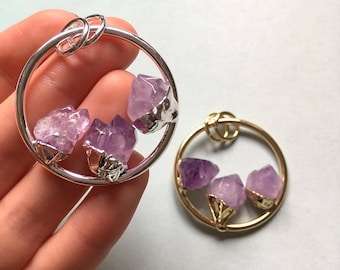1 x Large amethyst gemstone nugget set hoop pendant 40mm - gold or silver plated
