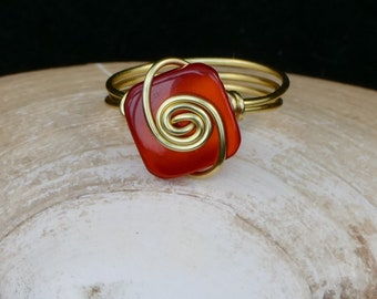 Red and gold small button wire ring