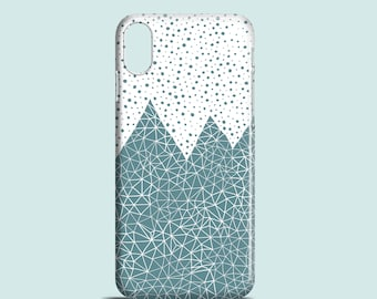 Teal Mountains mobile phone case / iPhone X, iPhone 8, iPhone 7, iPhone SE, iPhone 6S, iPhone 6, iPhone 5/5S /illustrated iPhone 8 plus case
